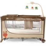 Patut de copil KinderKraft Joy Folding Travel Beige cu Accesorii