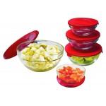 Set de 5 boluri din sticlă VOOMAX cu capace Multicolore