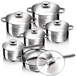 Set Cratite cu Capac Blaumann, Oțel inoxidabil, Gourmet Line, 12 Piese