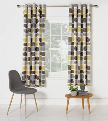 Set 2 Draperii HOME Pebbles Grey/Yellow 229x229cm/buc.