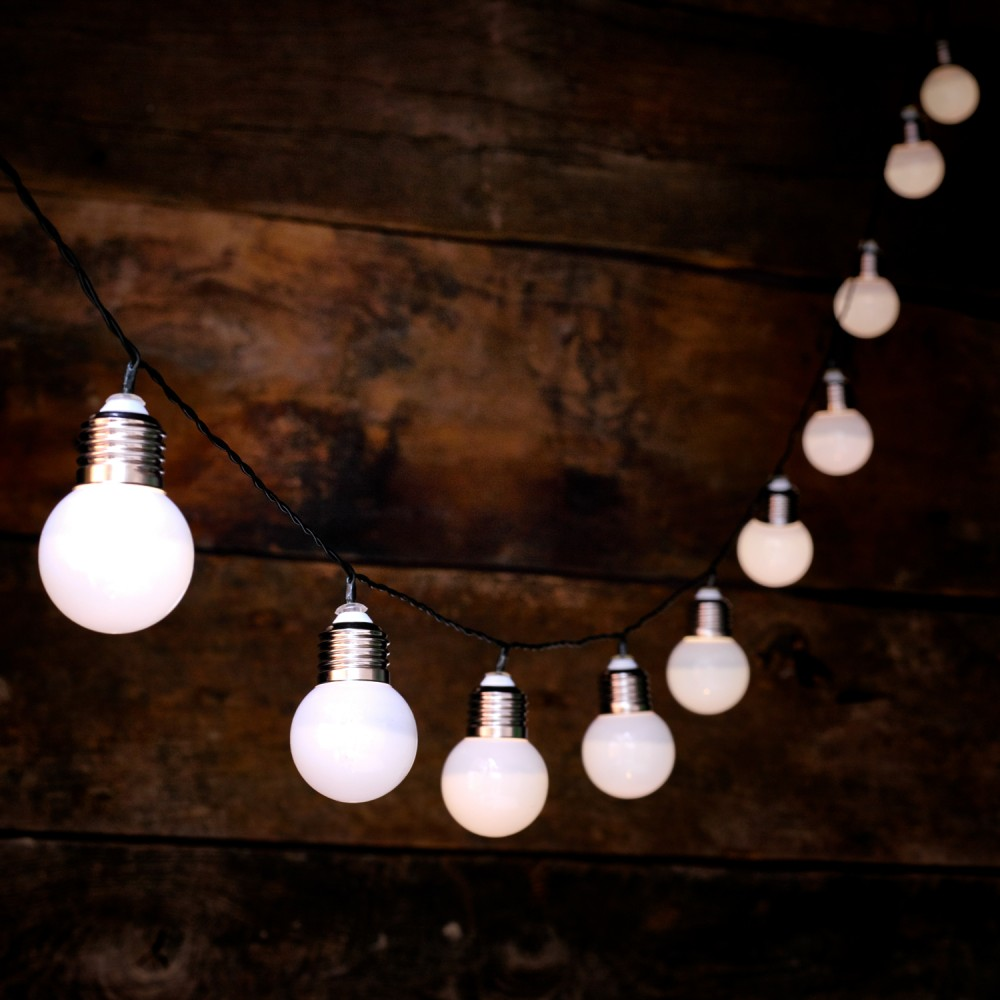 Set Lampi Solare.Set 10 Lampi Solare De Gradina Globrite Retro Bulb Albe